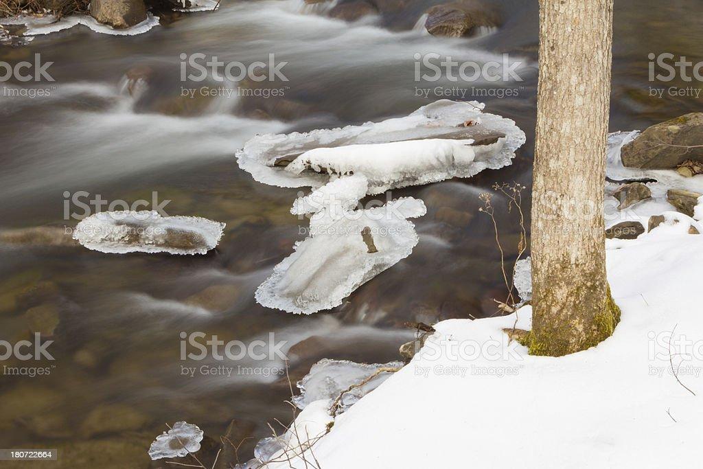 Flowing Frozen Creek royalty-free stock photo