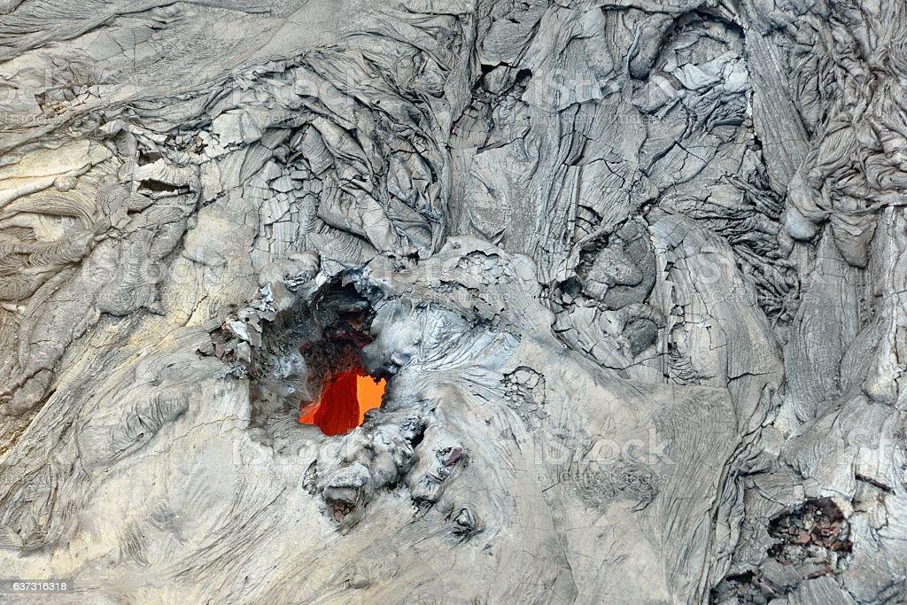 Flowing lava close up, Big Island, Hawaii stock photo