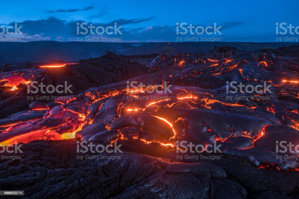 Flowing lava in Hawaii stock photo