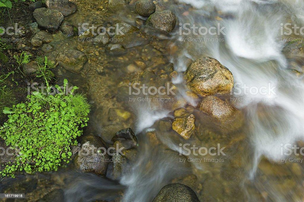 Flowing Mountain Creek Over Rocks stock photo