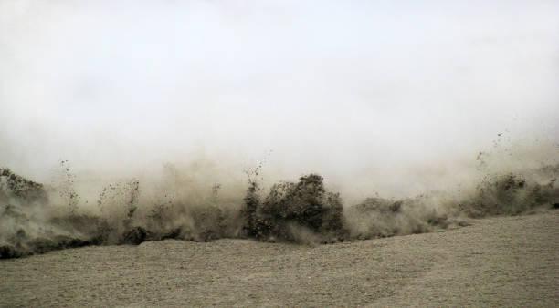 Flowing mud mass stock photo