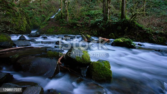 Motion blurred water cascading down stream with the focus on the foreground rocks with moss growing on them.