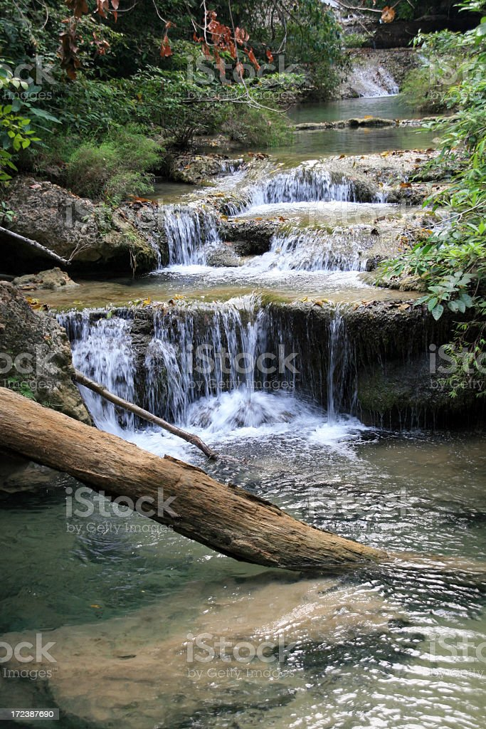 Flowing River and Waterfall at Erawan National Park, Thailand royalty-free stock photo