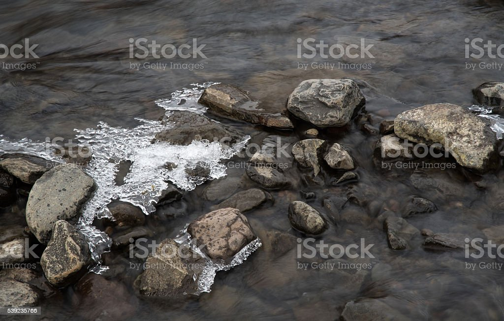 Flowing river water and Ice royalty-free stock photo