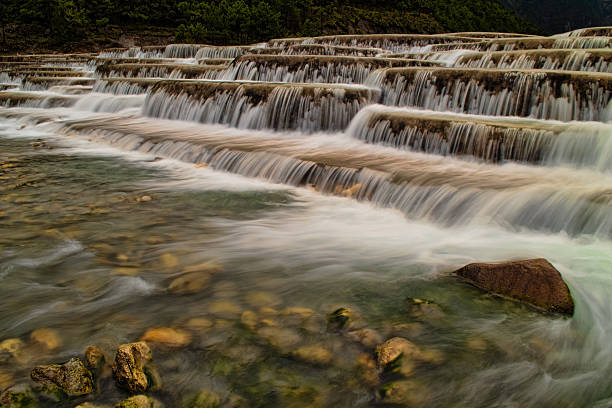 Flowing Step Waterfall from Below stock photo