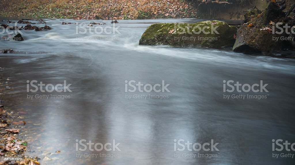 Flowing Stream and Mossy Rock stock photo