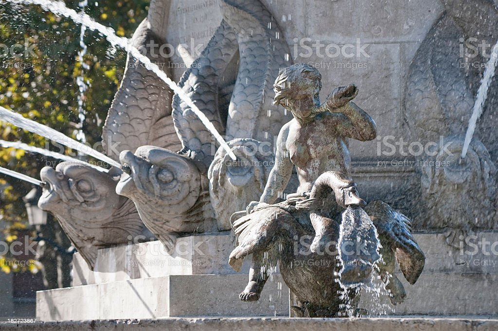 Flowing Traditional French Fountain stock photo