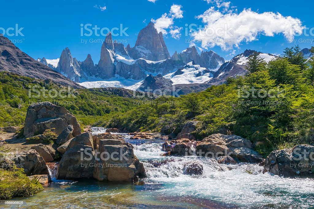 Flowing water at Mount Fitz Roy in Patagonia Argentina stock photo