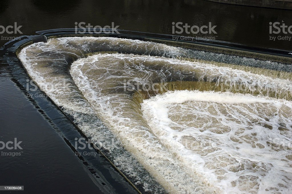 flowing water over a weir royalty-free stock photo