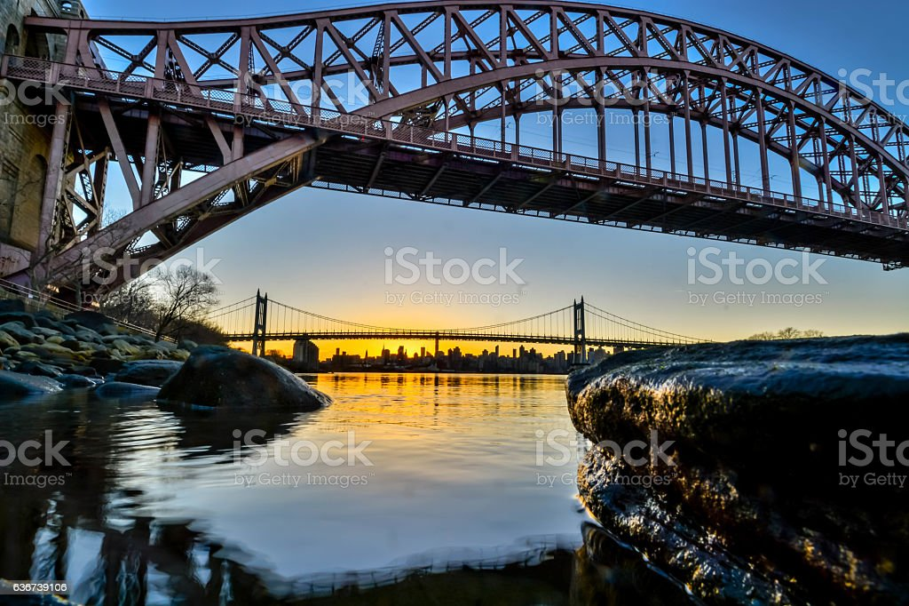 Flowing water with New york city skiline background stock photo