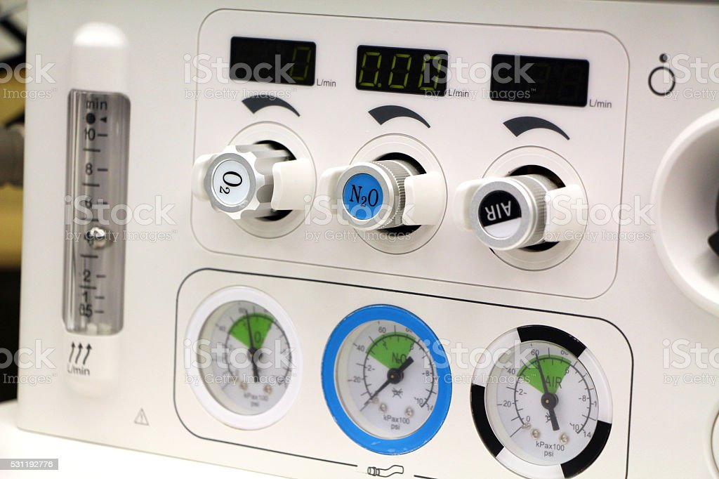 flowmeter of anesthesia machine stock photo