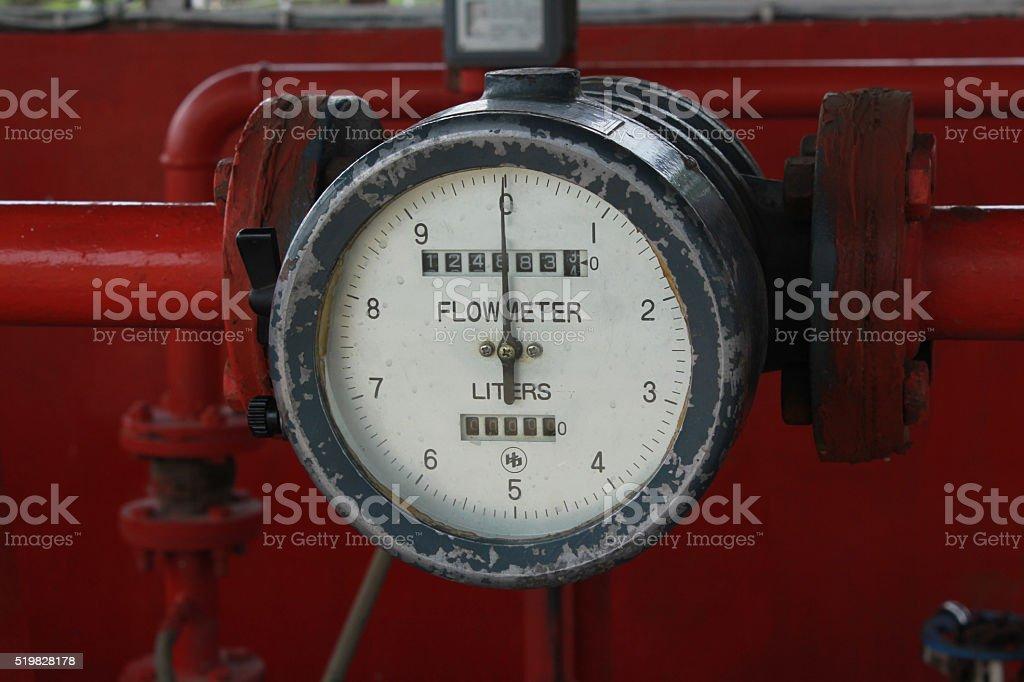 Flowmeter of diesel fuel at workshop stock photo