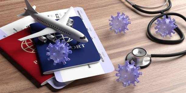 Flu coronavirus and doctor stethoscope on wood. 3d illustration Flu coronavirus pandemic virus infection, travel and health concept. Medical stethoscope and travel documents on wood background. 3d illustration travel stock pictures, royalty-free photos & images