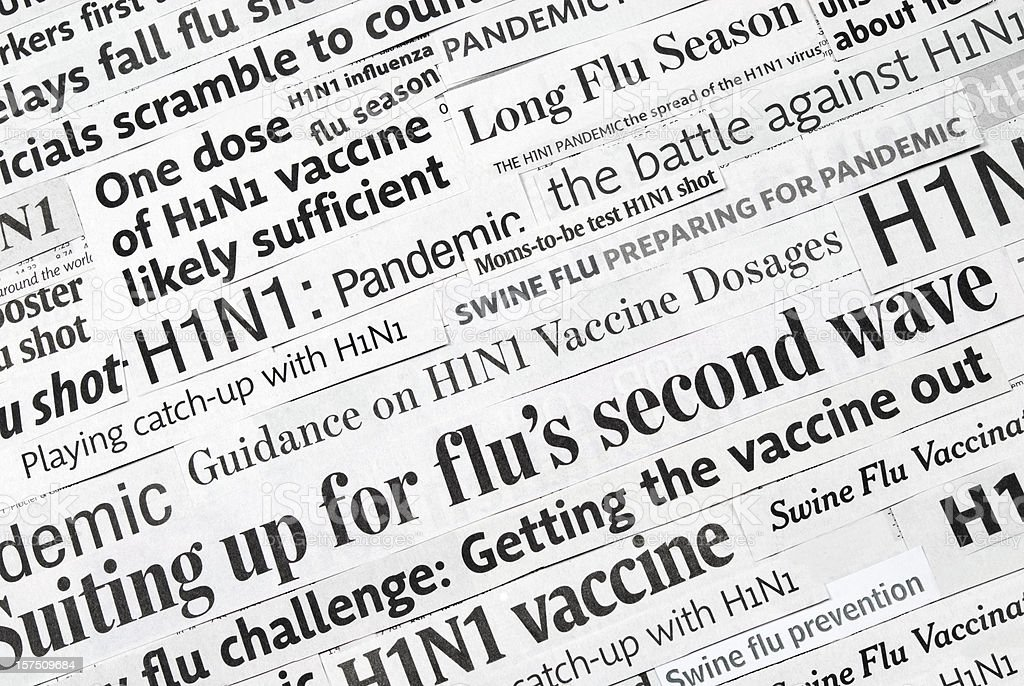 H1N1 flu headlines (pandemic and vaccine) - I royalty-free stock photo