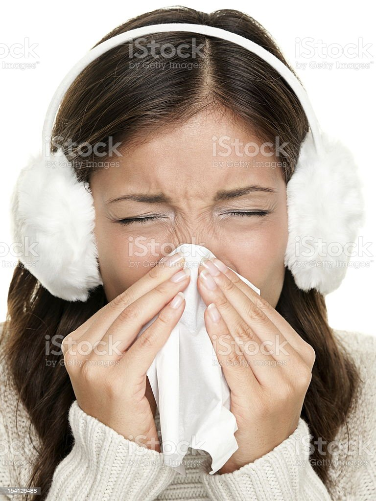 Flu or cold sneezing woman royalty-free stock photo