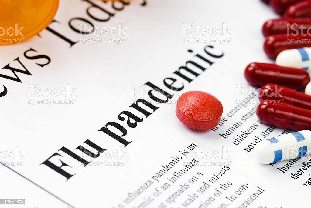 Flu (Influenza A/H1N1) pandemic headlines - II royalty-free stock photo