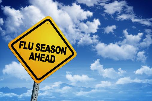 flu season ahead Road Warning Sign.