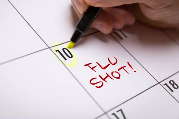 Flu Shot Flu Shot calendar note flu shot stock pictures, royalty-free photos & images