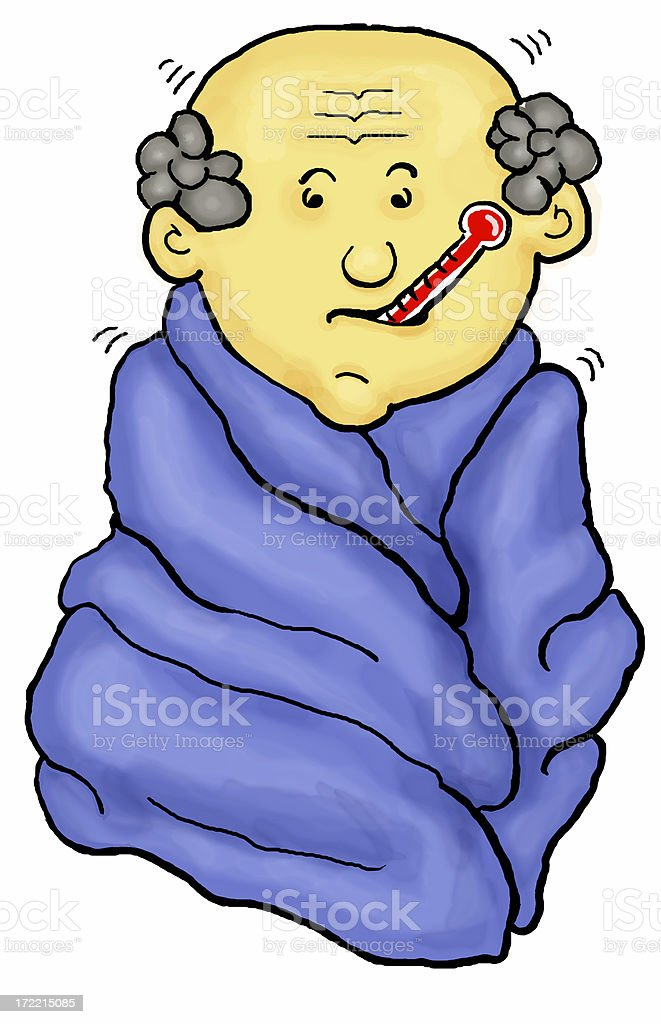 Flu Symptoms Fever and Chills Illustration (1 of 5  Series) royalty-free stock photo