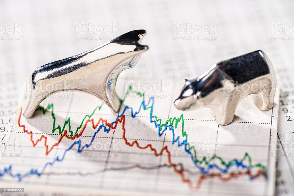 Fluctuating prices on the stock exchange stock photo