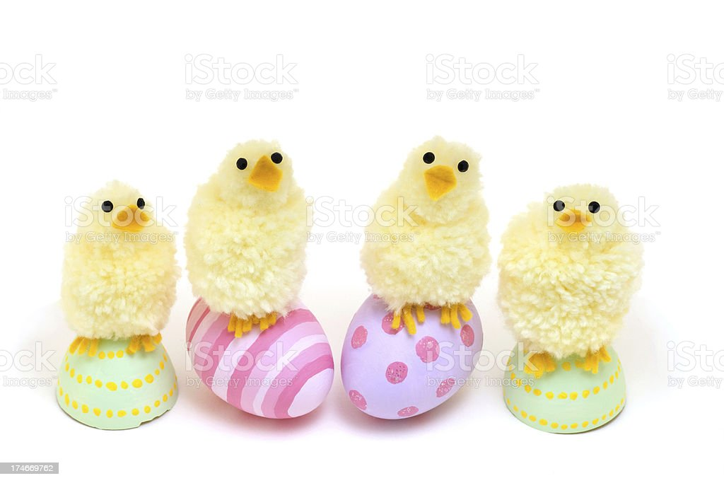Fluffy Chicks on Easter Eggs royalty-free stock photo