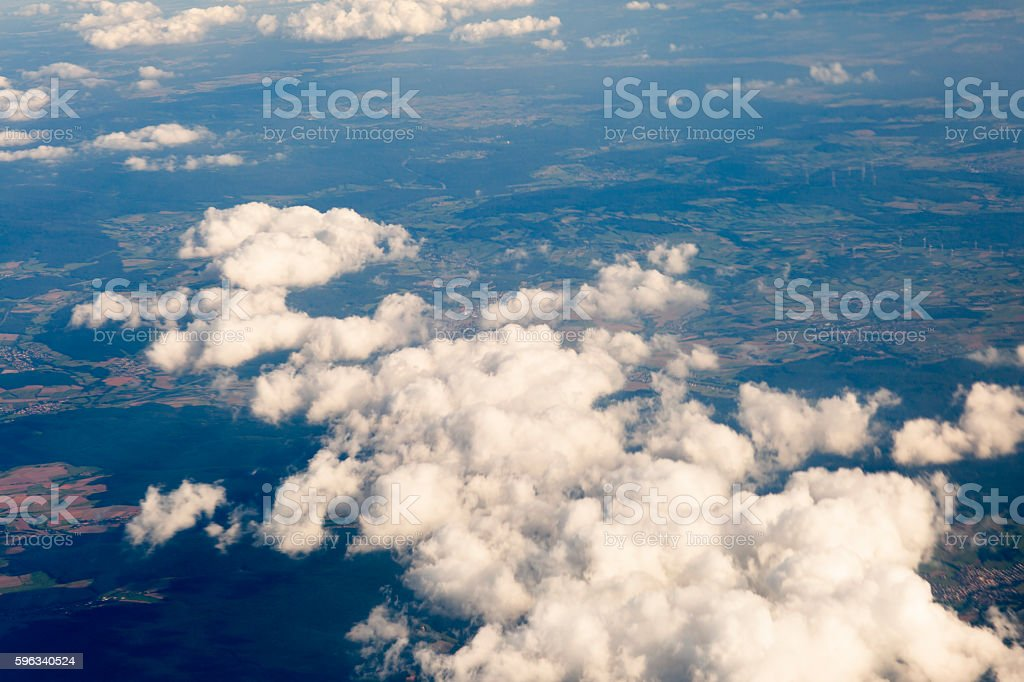 Fluffy clouds over the earth, the landscape. Lizenzfreies stock-foto
