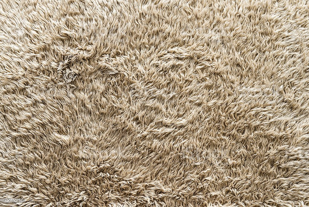Fluffy Cotton Rug With Long Hair In Beige Texture Stock