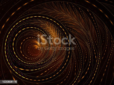 istock Fluffy helix. Spiral floral pattern, graphic composition.. An abstract computer generated modern fractal design on dark background. Illuminated, thin, curving, woven pattern for creative art. 1020808116