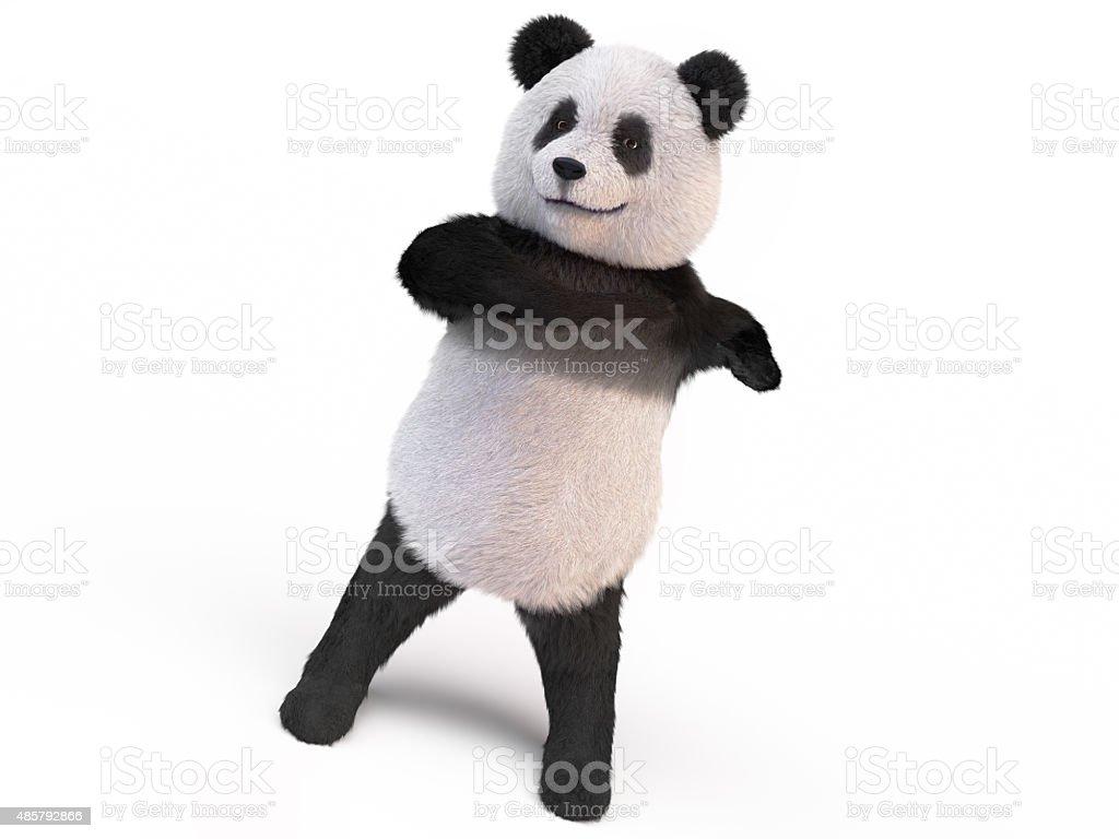 fluffy panda twisting body stock photo