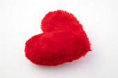 Fluffy red heart on white background