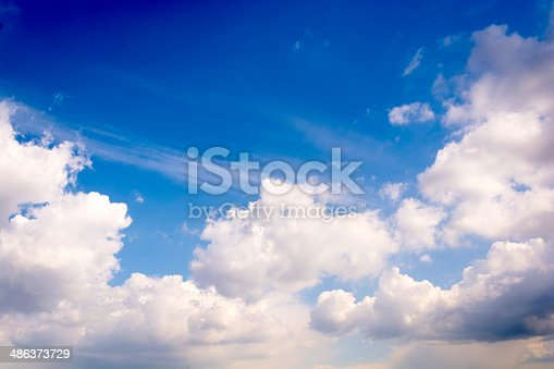 istock Fluffy white clouds 486373729