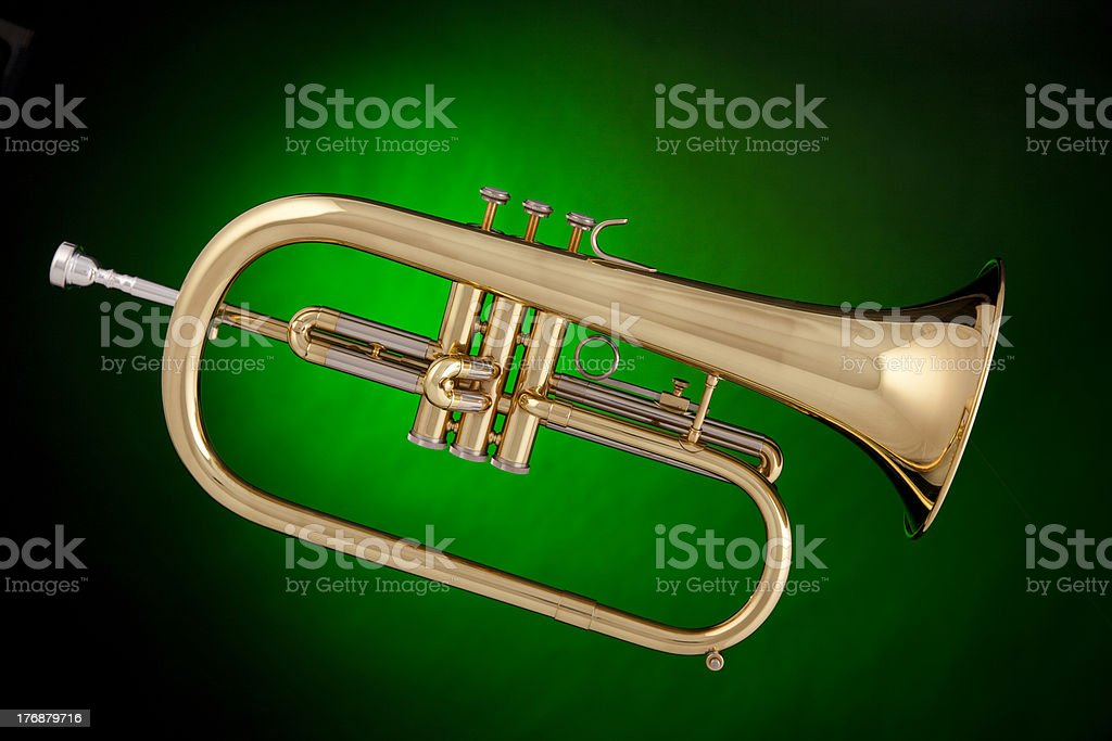 Flugalhorn Trumpet Isolated on Green stock photo