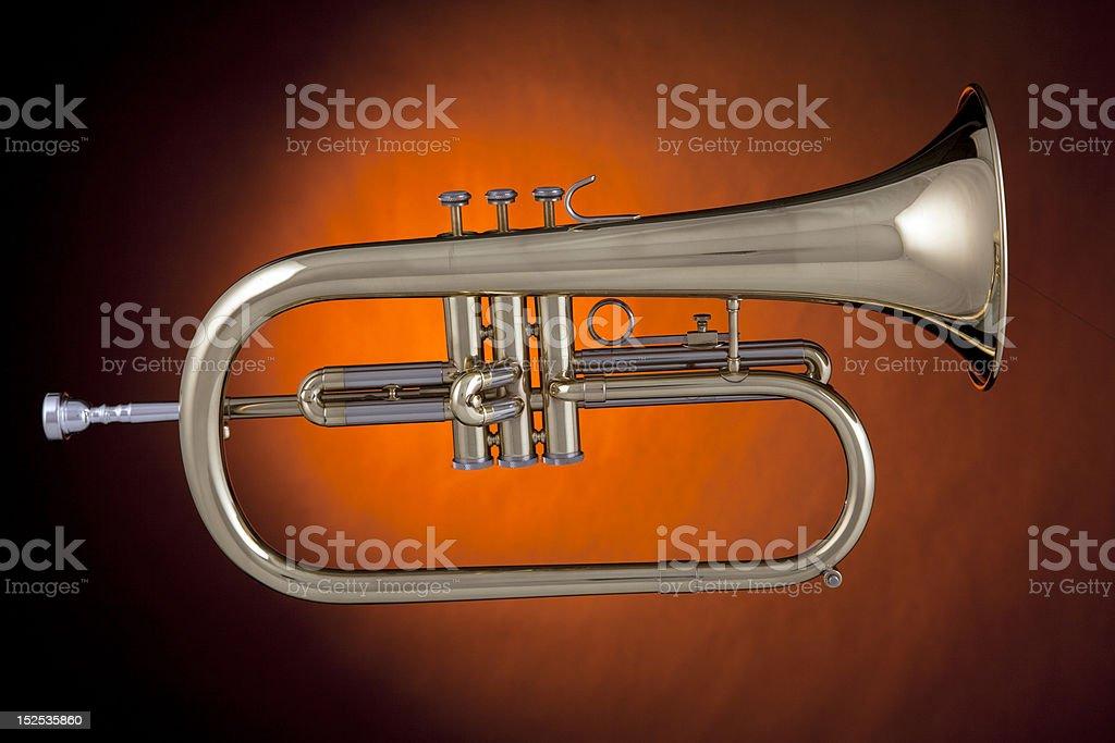 Flugelhorn trumpet gold Isolated royalty-free stock photo