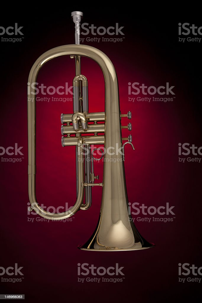 Flugelhorn Trumpet Isolated against Red stock photo