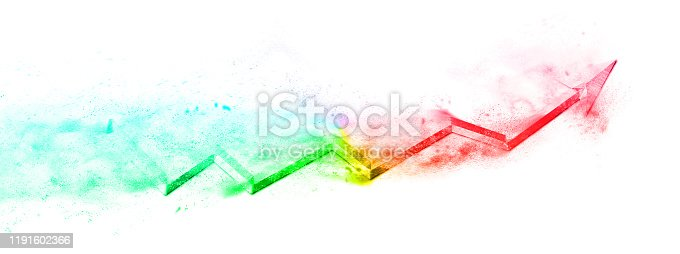 1191600199 istock photo Fluid arrows with scattered particles 1191602366