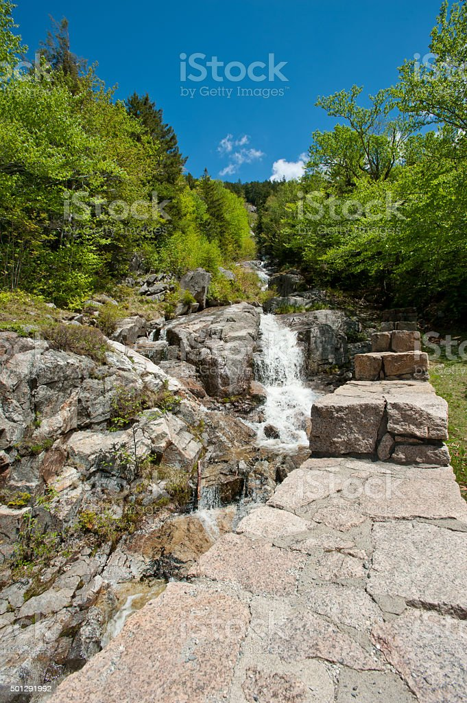 Flume Cascade, Crawford Notch State Park, New Hampshire stock photo