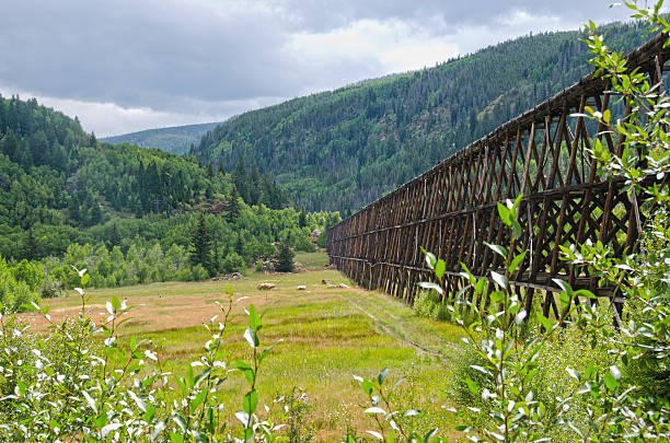 Flume System to Divert Toxic Water A flume system was set up by the EPA to divert toxic water from the Eagle Mine, keeping it out of the Eagle River and the local water supply of the Vail Valley. minturn colorado stock pictures, royalty-free photos & images