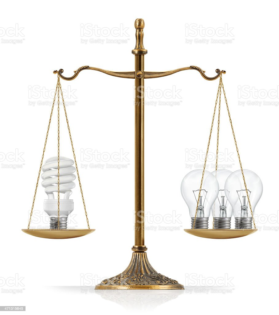 """Fluorescent and Filament Light Bulbs Comparison There is compact fluorescent light bulb at the one side of """"Scales of Justice"""" while there are three classic (incandescent / filament) light bulbs on the other side. In this version, compact fluorescent light bulb and three classic light bulbs are equal weighted. Balance Stock Photo"""