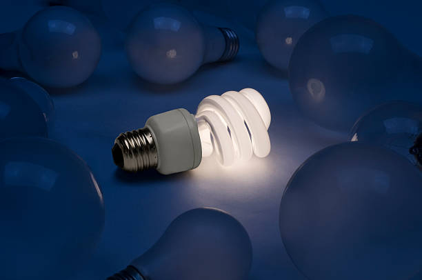 Fluorescent bulb with old style bulbs stock photo