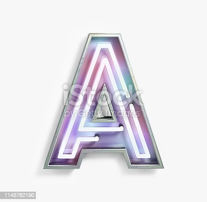 939169648istockphoto Fluorescent Colored Neon Font. Letter A 1145782150