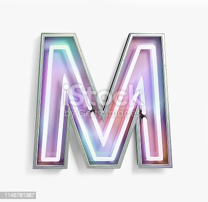 844515966 istock photo Fluorescent Colored Neon Font. Letter M 1145781367