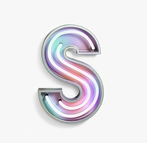 fluorescerende gekleurde neon font. letter s - s stockfoto's en -beelden