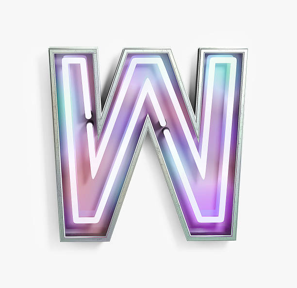 Fluorescent Colored Neon Font. Letter W Fluorescent Colored Neon Font. Letter W. Night Show Alphabet. 3d Rendering Isolated on White Background. letter w stock pictures, royalty-free photos & images