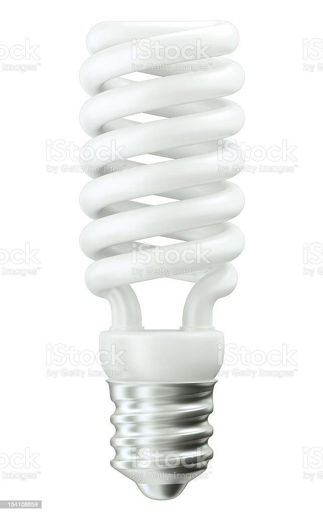 Fluorescent Energy efficient light bulb on white royalty-free stock photo