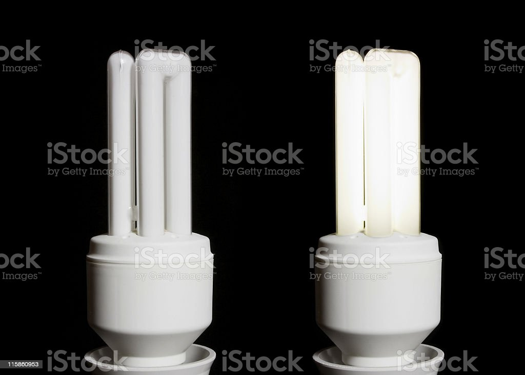 Fluorescent energy saving light bulb on and off royalty-free stock photo