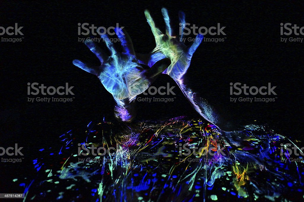 Fluorescent Hands - light painting neon