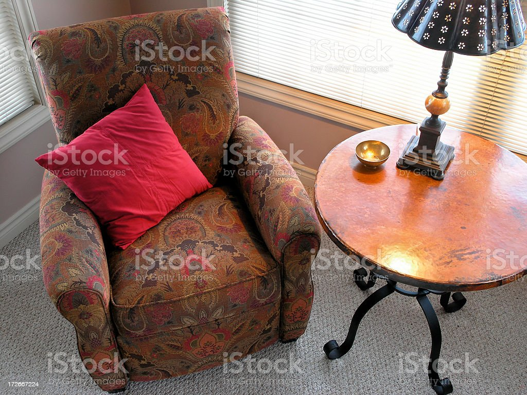 Fluorescent image of a favorite living room chair royalty-free stock photo