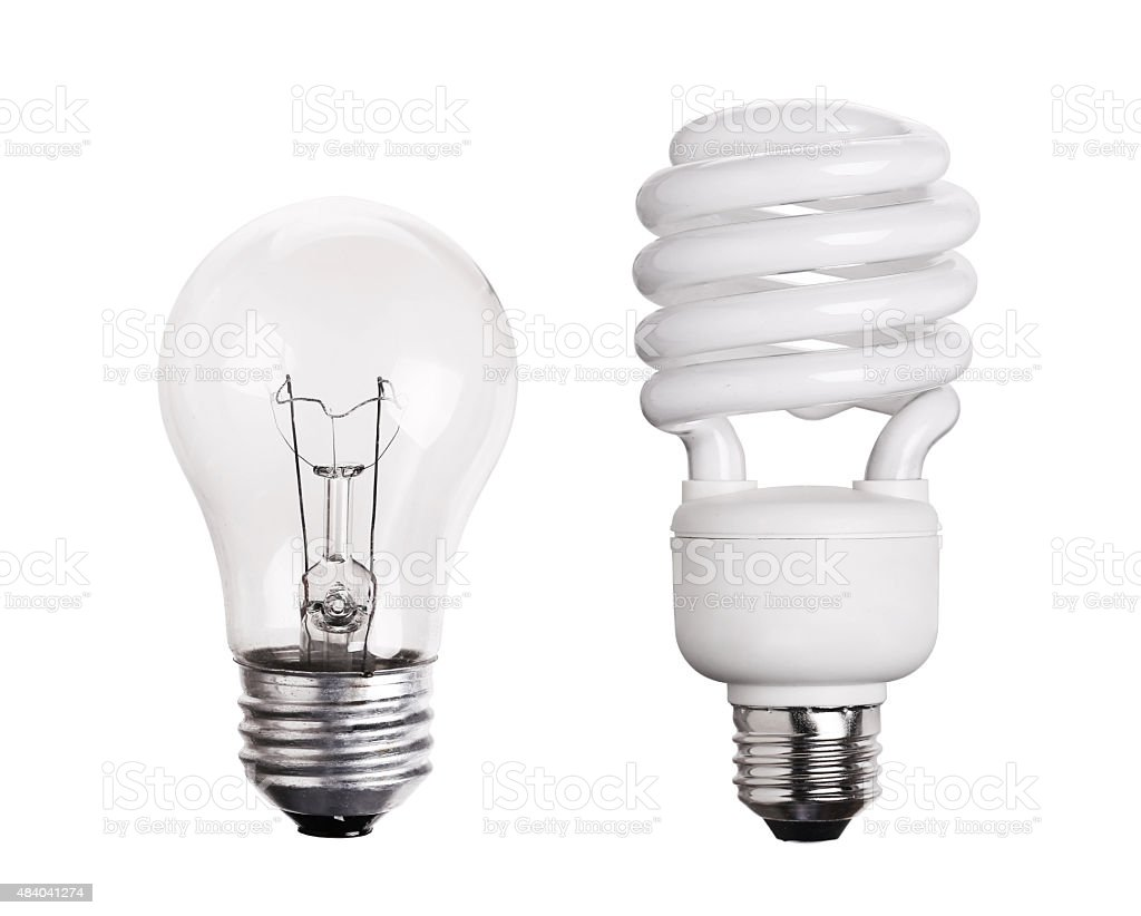 CFL Fluorescent Light Bulb isolated on white stock photo