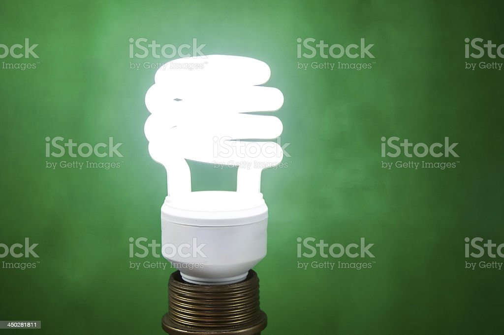 Fluorescent Light Bulb on Green background royalty-free stock photo