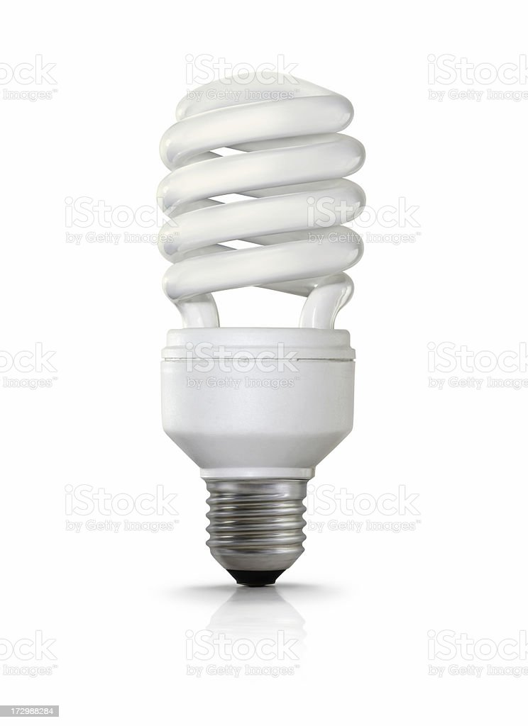 Fluorescent light bulb with a screw fitting stock photo